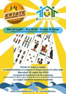 Torneo di Scopa – Mercoledi 20 Luglio – Ore 20:30 – Piazza Cavour